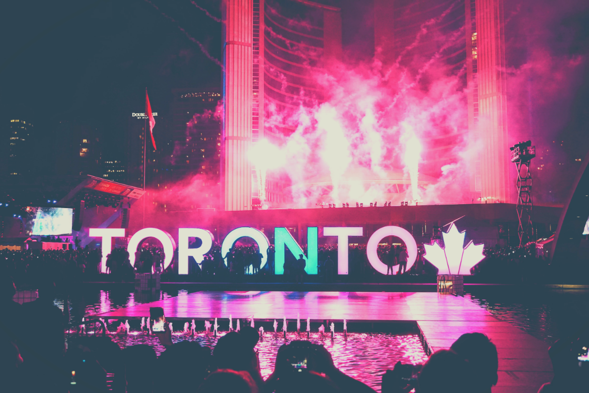 Sign and fireworks in Toronto