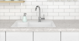 Kitchen sink with white tile behind