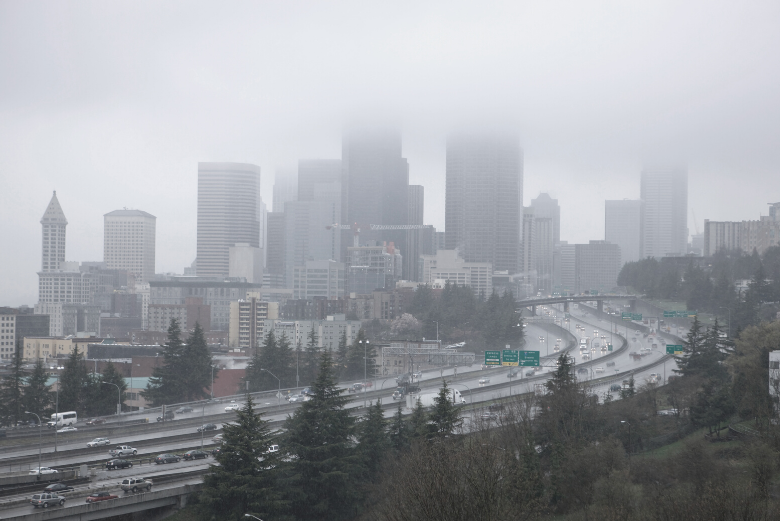 gray clouds over Seattle highway